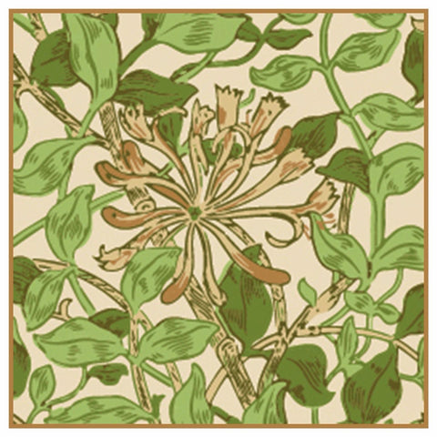 Earthtone Honeysuckle Flower by William Morris Design Counted Cross Stitch Pattern