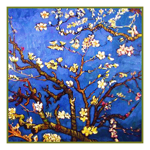 Almond Branches inspired by Impressionist Vincent Van Gogh's Painting Counted Cross Stitch or Counted Needlepoint Pattern