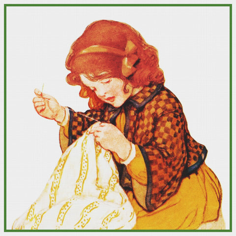 Young Girl with a Sewing Project By Jessie Willcox Smith Counted Cross Stitch Pattern