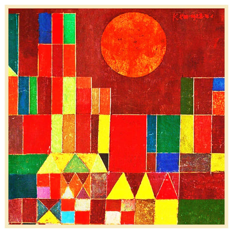 The Castle and Sun detail by Expressionist Artist Paul Klee Counted Cross Stitch Pattern