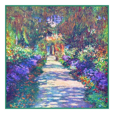 The Garden Path in Giverny inspired by Claude Monet's Impressionist painting Counted Cross Stitch Pattern DIGITAL DOWNLOAD