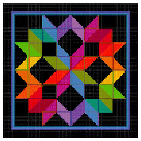 The Carpenter Wheel Folk Art inspired by an Amish Quilt Counted Cross Stitch Pattern DIGITAL DOWNLOAD