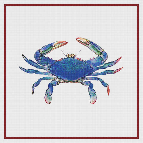 Nautical Seashore Blue Crab Counted Cross Stitch Pattern