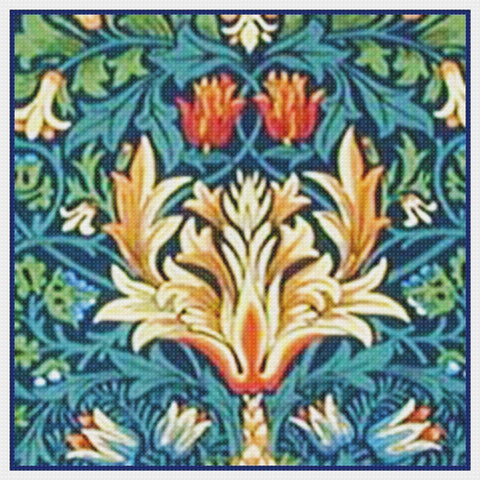 Arts and Crafts Snakeshead Blues by William Morris Design Counted Cross Stitch Pattern