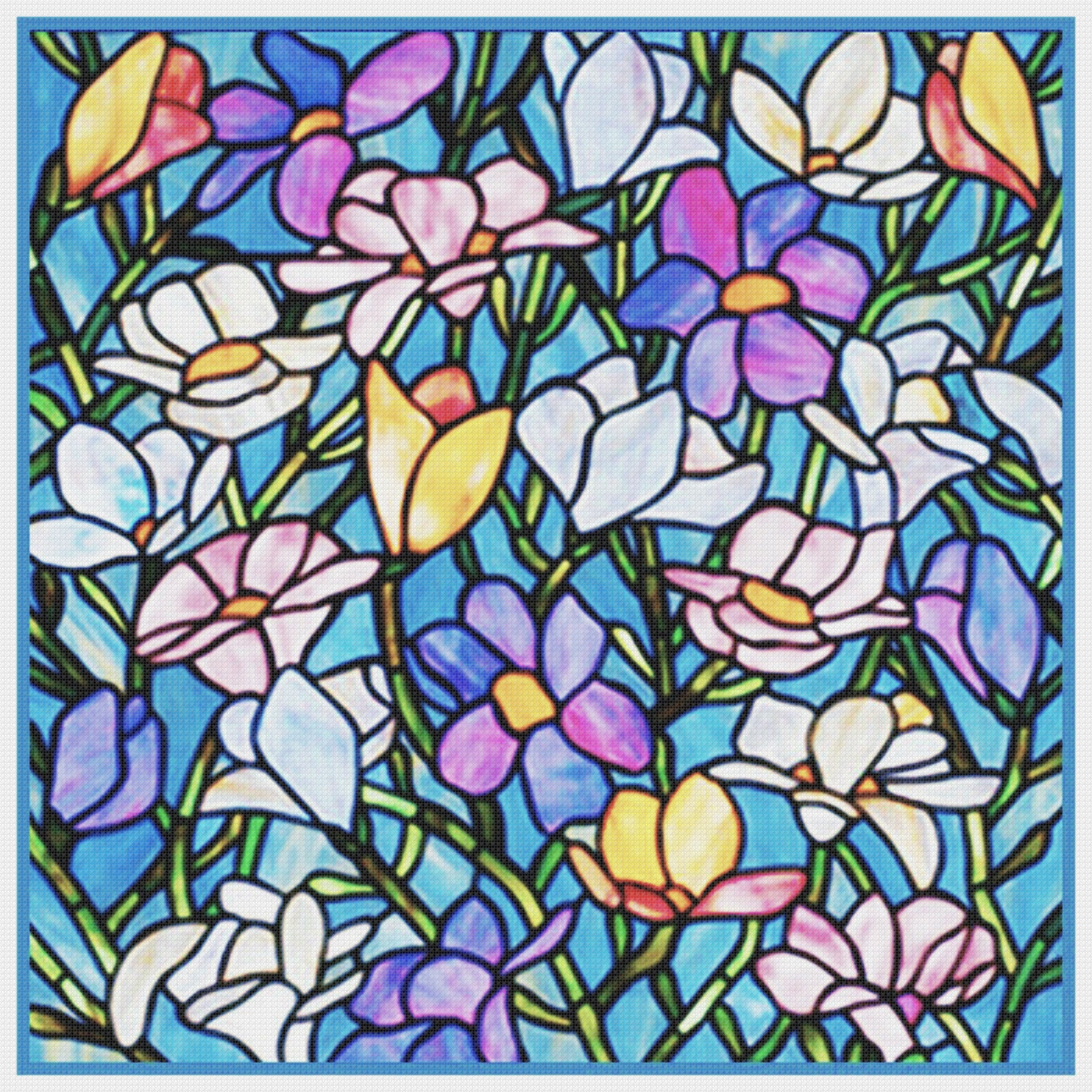 Spring Flowers Detail Inspired By Louis Comfort Tiffany Counted Cross Orenco Originals Llc