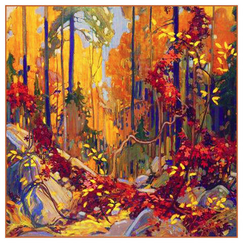 Tom Thomson's Autumn Garland Trees Foliage Canada Landscape Counted Cross Stitch Pattern DIGITAL DOWNLOAD