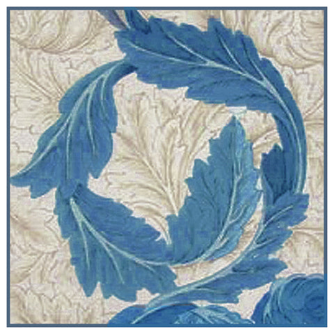 Acanthus Vine in Blue by Arts and Crafts Movement Founder William Morris Counted Cross Stitch Pattern