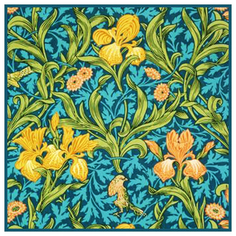 William Morris Bird Irises Flowers detail Design Counted Cross Stitch Pattern
