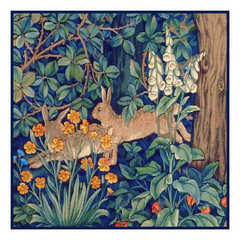 Forest Rabbits Henry Dearle and William Morris Design Counted Cross Stitch or Counted Needlepoint Pattern
