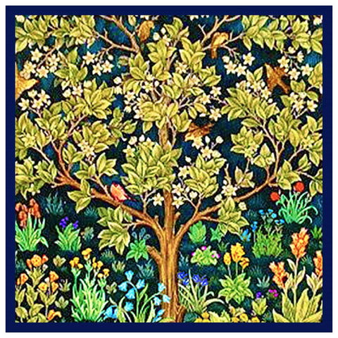 William Morris Square Tree Of Life Blue Background Design Counted Cross Stitch Pattern