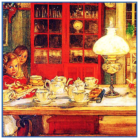 Kids Waiting For Game detail Swedish Carl Larsson  Counted Cross Stitch Pattern