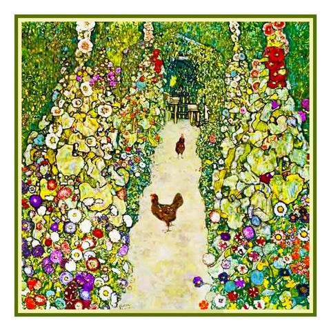 Symbolist Artist Klimt's Garden Chickens Counted Cross Stitch Chart  Pattern