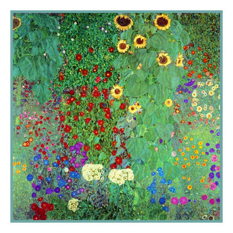 Symbolist Gustav Klimt Garden Sunflowers Counted Cross Stitch Chart Pattern DIGITAL DOWNLOAD