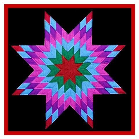 Lone Star  inspired Amish Quilt Orenco Originals Counted Cross Stitch Pattern