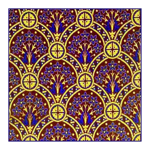AWN Pugin Flowers and Crosses in Blues Golds Counted Cross Stitch Chart Pattern
