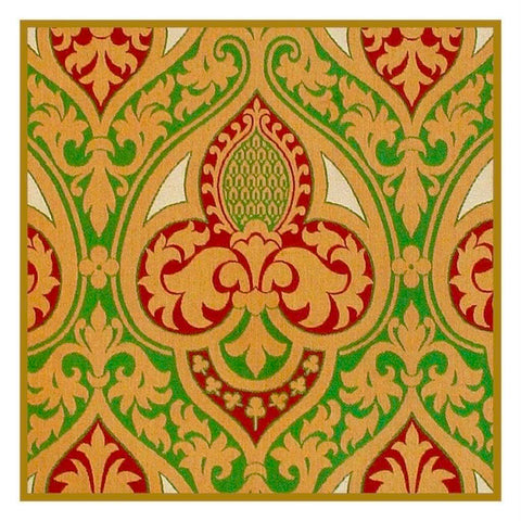 AWN Pugin Flowers Geometric Scarlets Greens Golds Counted Cross Stitch Pattern