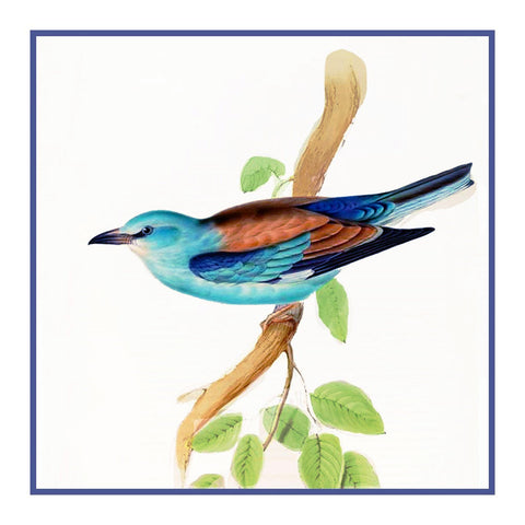 European Roller by Naturalist John Gould Bird Counted Cross Stitch or Counted Needlepoint Pattern