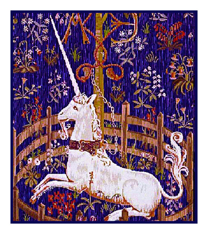 Unicorn in Captivity Antique Blue Background Inspired by The Hunt for the Unicorn Tapestries Counted Cross Stitch Pattern