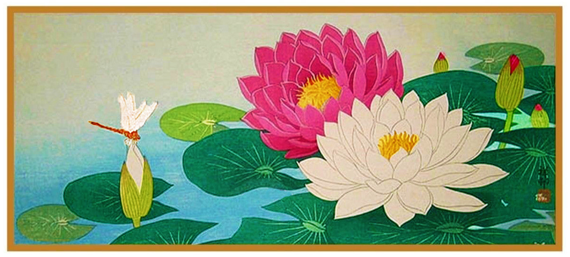Japanese Artist Ohara Shoson S Lotus Flower And A Dragonfly