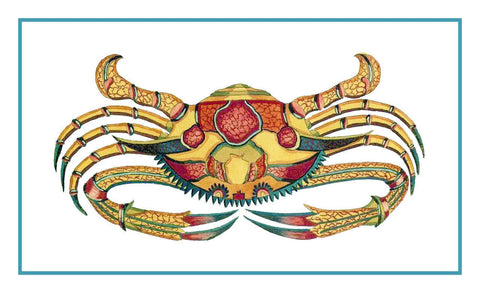 Fallours' Renard's Fantastic Colorful Tropical Crab 6 Counted Cross Stitch or Counted Needlepoint Pattern