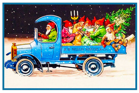 Elves Gnomes Delivering Presents in a Truck Jenny Nystrom Holiday Christmas Counted Cross Stitch or Counted Needlepoint Pattern