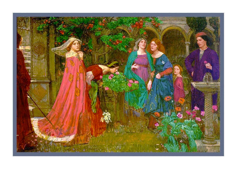 The Enchanted Garden inspired by John William Waterhouse Counted Cross Stitch or Counted Needlepoint Pattern