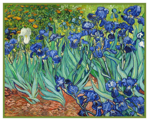 Iris Flowers by Vincent Van Gogh Counted Cross Stitch Pattern DIGITAL DOWNLOAD