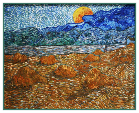 Wheat Field With Rising Moon by Vincent Van Gogh Counted Cross Stitch Pattern