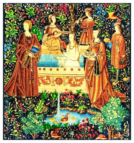 The Bath From Medieval Tapestry Counted Cross Stitch Pattern