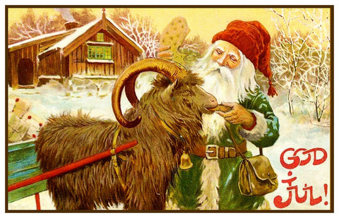 Elf Ram Sled God Jul by Jenny Nystrom Holiday Christmas Counted Cross Stitch Pattern DIGITAL DOWNLOAD