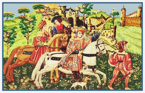 Departure for the Hunt From Medieval Tapestry Counted Cross Stitch Pattern
