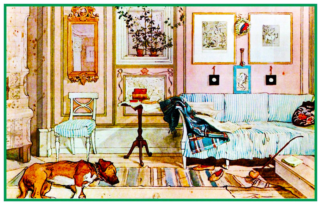 A Lazy Nook inspired by Swedish Carl Larsson  Counted Cross Stitch Pattern
