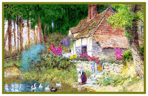 Pond Ducks English Country Cottage Strachan Counted Cross Stitch Pattern