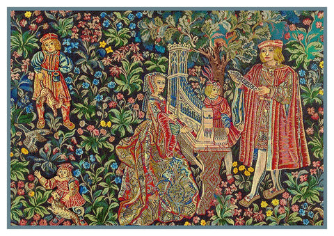 The Family Outing From Medieval Tapestry Counted Cross Stitch Pattern