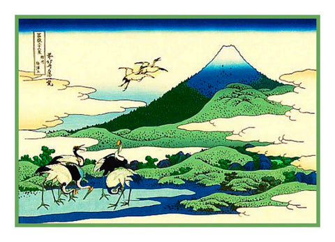 Japanese Hokusai Cranes at Umezawa Manor Counted Cross Stitch Pattern