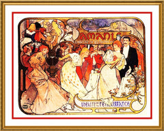 Amants by Alphonse Mucha Counted Cross Stitch or Counted Needlepoint Pattern - Orenco Originals LLC