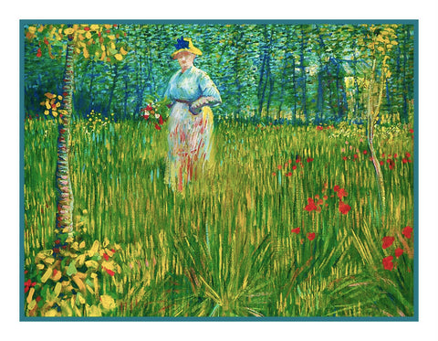 Woman Working in the Garden inspired by Impressionist Vincent Van Gogh's Painting Counted Cross Stitch Pattern