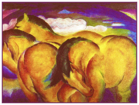 Little Yellow Horses by Expressionist Artis Franz Marc Counted Cross Stitch Pattern