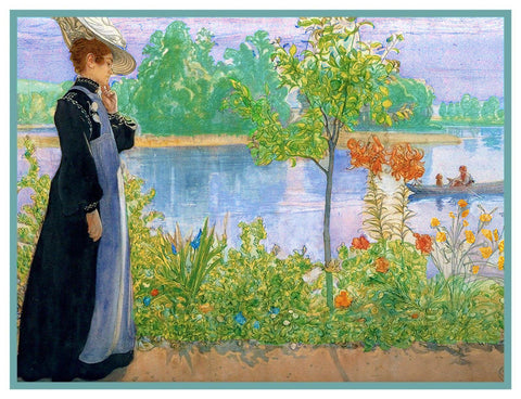 Carl Larsson Karin Walking Shore Counted Cross Stitch Chart Pattern