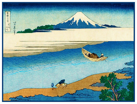 Hokusai Tama River Mt Fuji Counted Cross Stitch Pattern
