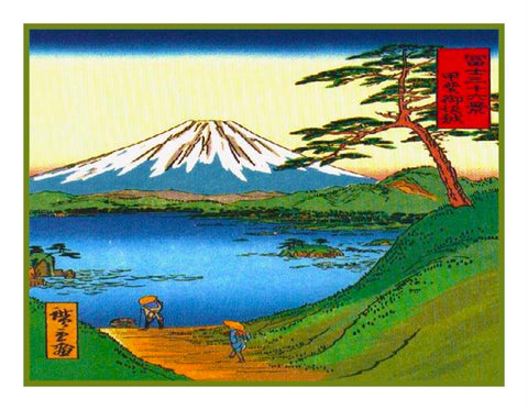Japanese Hokusai Lake and Mt Fuji Counted Cross Stitch Pattern