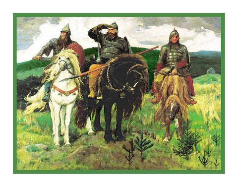 Viktor Mikhailovich Vasnetsov Three Bogatyrs Counted Cross Stitch Chart Pattern