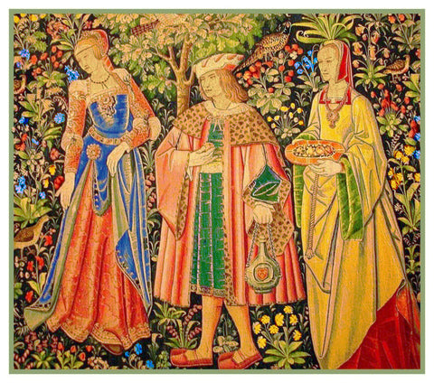 The Promenade Walk  From Medieval Tapestry Counted Cross Stitch Pattern