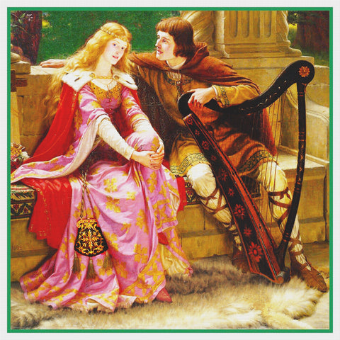 Medieval End of Song Tristan and Isolde inspired by Edmund Blair Leighton Counted Cross Stitch Pattern