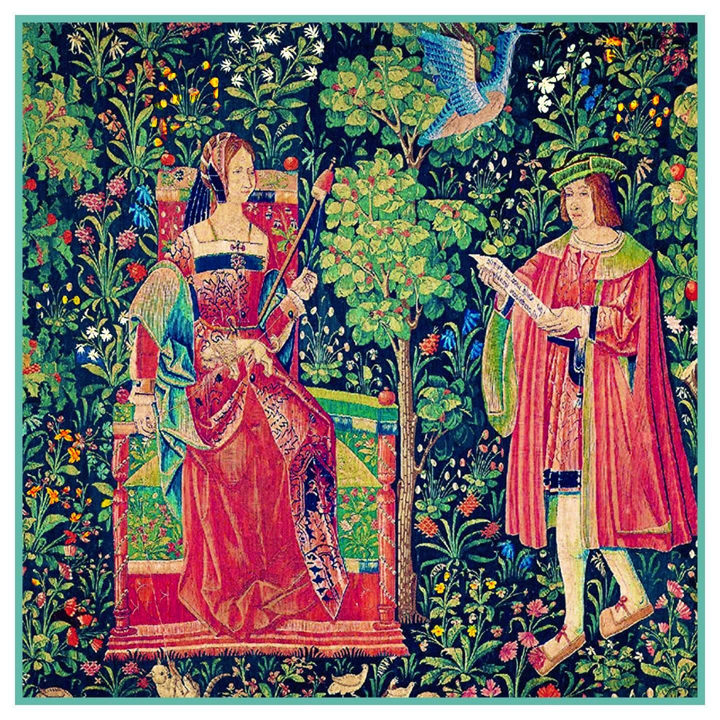 The Lord and Lady From Medieval Tapestry Counted Cross Stitch Pattern