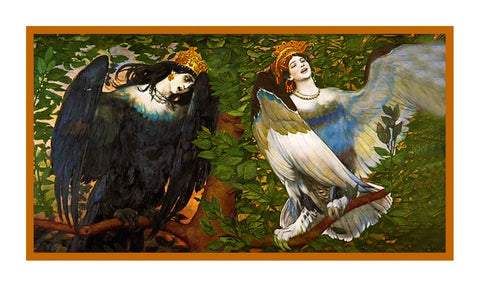 Viktor Vasnetsov Sirin Alkonost Joy Sorrow Counted Cross Stitch Chart Pattern