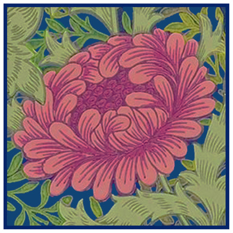 Simplified Chrysanthemum Design Detail Pink and Blues by Arts and Crafts Movement Founder William Morris Counted Cross Stitch or Counted Needlepoint Pattern - Counted Cross Stitch
