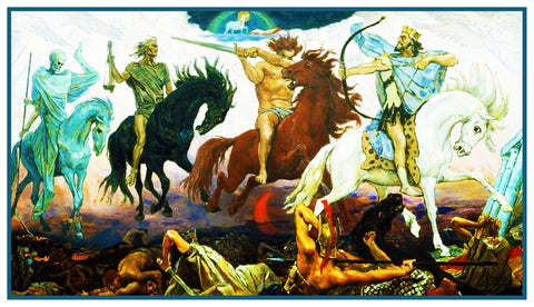 4 Horsemen of Apocalypse Russian Vasnetsov Counted Cross Stitch Chart Pattern