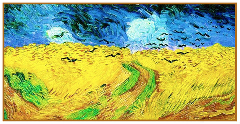 Wheat Field with Crows inspired by Impressionist Vincent Van Gogh's Painting Counted Cross Stitch Pattern