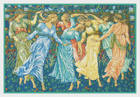 The Dancers Detail from the Ceremony by William Morris Counted Cross Stitch Pattern DIGITAL DOWNLOAD